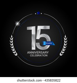 15 Years Silver anniversary logo, low poly design number