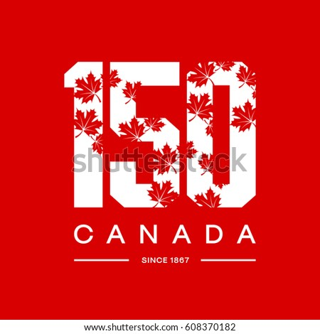 6ee9b49ee 150 anniversary of the founding of Canada maple leaf texture number tee  print vector design isolated