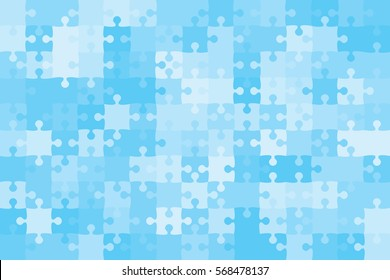 150 Blue Puzzles Pieces Arranged in a Rectangle - Vector Illustration.  Jigsaw Puzzle Blank Template or Cutting Guidelines 8:14 Ratio. Vector Background.