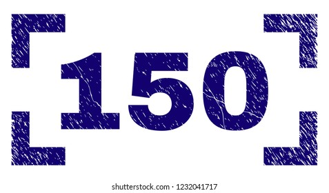 150 caption seal print with distress texture. Text caption is placed between corners. Blue vector rubber print of 150 with dirty texture.