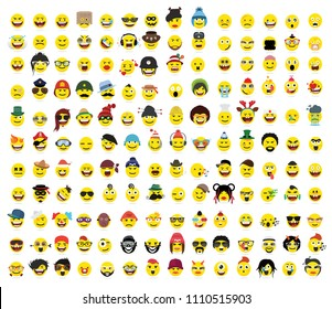 150 Creative funny flat style, emoji,smiley emoticons