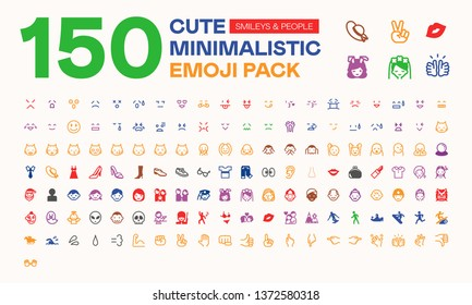 150 Cute Minimalistic People Emojis, Emoticons, Isolated Icons Pack