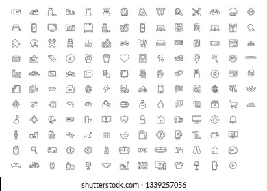 150 Solid Outline  Icon Online market shopping, online, mobile, payment, money, online shop, dress, electronic, pay, transfer, application, outline, delivery, service, handphone.