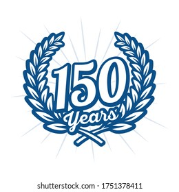 150 years anniversary celebration with laurel wreath. 150th anniversary logo. Vector and illustration.