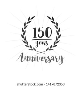 150 years anniversary celebration logo. Anniversary watercolor design template. Vector and illustration.