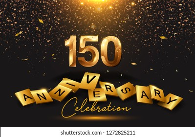 150 years anniversary celebration with signature lettering. Poster or brochure template. Vector illustration. - Vector