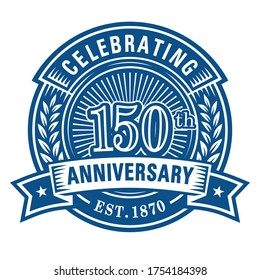 150 years anniversary celebrations design template. 150th logo. Vector and illustrations.