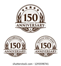 150 years anniversary set. 150th celebration logo collection. Vector and illustration.