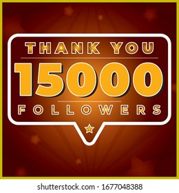 15000 Followers. Web user or blogger celebrates a large number of subscribers, Vector in Luxury Gradient, 15K followers illustration, post design vector