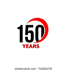 150th Anniversary abstract vector logo. One hundred fifty Happy birthday day icon. Black numbers in red arc with text 150 years.