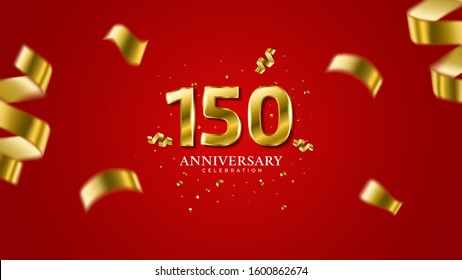 150th anniversary. Gold Numbers with shadow and sparkling confetti. Modern elegant gradient red background design vector EPS 10. For wedding party or company event decoration.