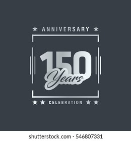 150th anniversary logo, vector celebration design with rectangle on grey background.