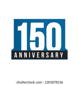 150th Anniversary vector icon. Birthday logo template. Greeting card design element. Simple business anniversary emblem. Blue strict style number. Isolated vector illustration on white background.