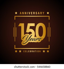 150th golden anniversary logo, laurel wreath isolated on black background, vector design