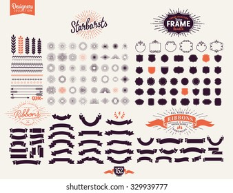 152 Premium design elements. Great for retro vintage logos. Starbursts, frames and ribbons Designers Collection
