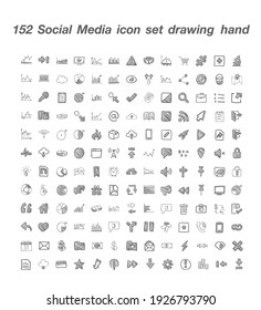 152 Social Media  icon set vector