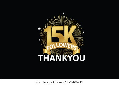 15K, 15000  Followers anniversary, minimalist logo years, jubilee, greeting card. invitation. Sign Ribbon Gold space vector illustration on black background - Vector