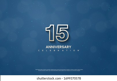 15th anniversary background with illustrations of figures and writing below on a dark blue background.