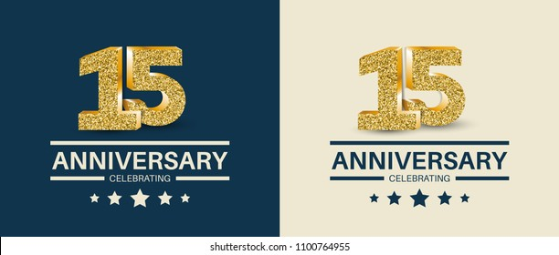 15th Anniversary celebrating cards template. 15 - year jubilee banner.