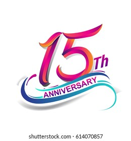 15th anniversary celebration logotype blue and red colored. fifteen years birthday logo on white background.