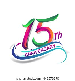 15th anniversary celebration logotype green and red colored. fifteen years birthday logo on white background.