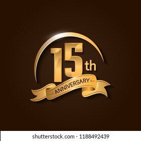 15th Anniversary design logotype. Anniversary logo design with swoosh and elegance golden ribbon. Vector template for use celebration, invitation card, and greeting card