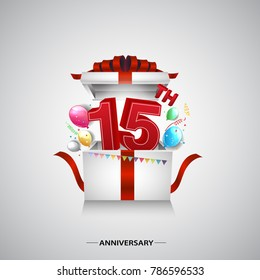 15th anniversary design with red number inside gift box isolated on white background for celebration event