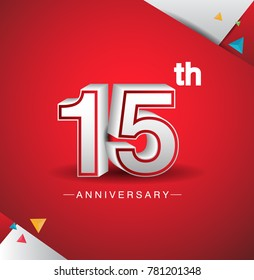 15th anniversary design with white number  on red background and confetti for celebration