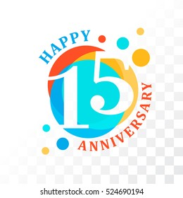 15th Anniversary emblem. Vector  template for birthday and jubilee