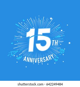 15th Anniversary fireworks and celebration background. vector design template