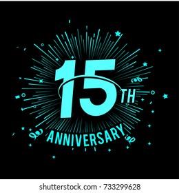 15th anniversary logo with firework background. glow in the dark design concept