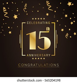 15th anniversary logo with golden rectangle vector template for birthday celebration.