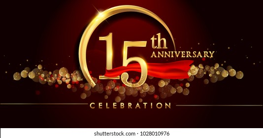 15th anniversary logo with golden ring, confetti and red ribbon isolated on elegant black background, sparkle, vector design for greeting card and invitation card