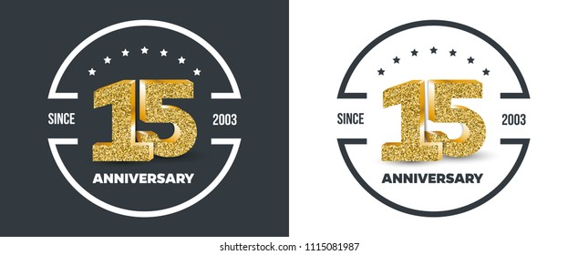 15th Anniversary logo on dark and white background. 15-year anniversary banners. Vector illustration.