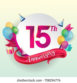 15th Anniversary logo with ribbon, balloon, and gift box isolated on circle object and colorful background