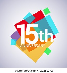 15th anniversary logo, vector design birthday celebration with colorful geometric isolated on white background.