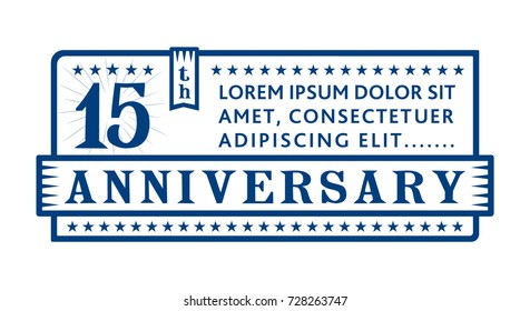 15th anniversary logo. Vector and illustration.