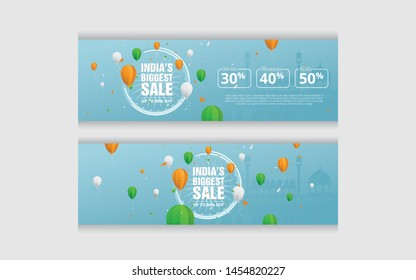 15th August Big Sale Banner Design Set with 50% Discount Tag - Big Sale Banner Design for Indian Independence Day Celebration
