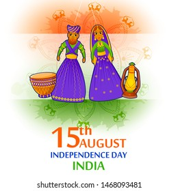 15th August Independence Day of India tricolor background in vector