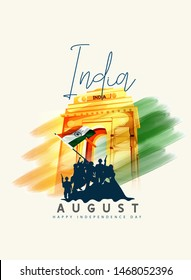 15th August india Happy Independence Day with soldier silhouette