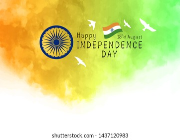 15th of August India Independence day design of watercolor texture on white background vector illustration
