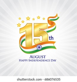 "15th August india Independence Logo, Typographic emblems & badge with grey background, An inscription in English ""Happy Independence Day"", Ribbon Flag, Vector illustration, T-shirt print"