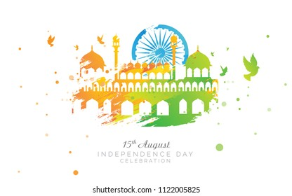 15th August Indian Independence Day Background with Abstract Tri Color