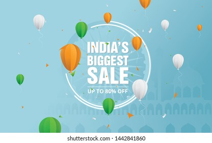 15th August Indian Independence Day Sale Background Template