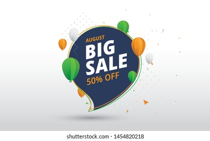 15th August Indian Independence Day Big Sale Banner Design with 50% Discount Tag