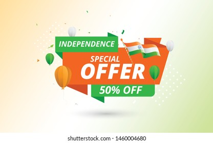15th August Indian Independence Day Big Sale Banner Design Template with 50% Discount Tag