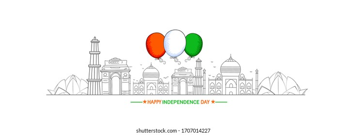 15th August Indian Independence Day Background with indian monuments, Tri Color