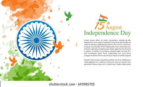 15th August, Indian Independence Day Vector illustration, Indian flag and Ashoka chakra wheel(spinning wheel) on watercolor splash with copy space.