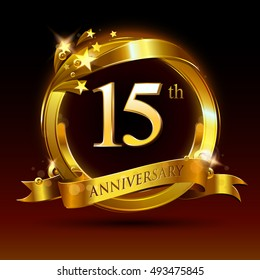 15th golden anniversary logo, 15 years anniversary celebration with ring and ribbon.