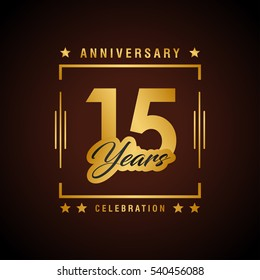 15th golden anniversary logo, laurel wreath isolated on black background, vector design